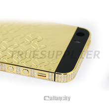 24 kt gold for iphone 5 24k gold plating back cover with side diamond for iPhone 5s