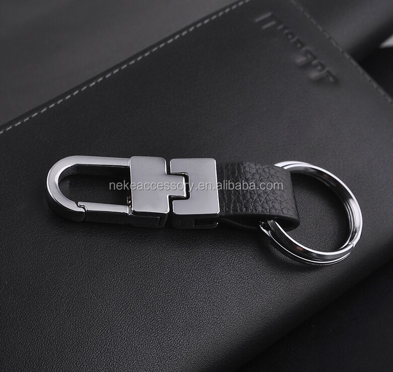 geniune leather male keychain key ring for man