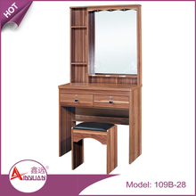 Bedroom furniture dressed table cheap wooden one mirror makeup table with chair