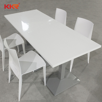 acrylic solid surface dining restaurant table set for 4 seaters