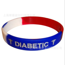 2016 new product effective medical alert diabetic rubber multi colors bracelets