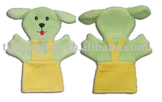baby toy; baby plush hand puppet (dog)