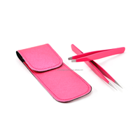 Eyelash Extension Tweezers Set Mini Straight Tweezer with Slanted Tip Tweezer (In Pink Color Coating)..