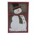 Christmas wood wall plaque with Painted Snowman on Frosted Glass with LED