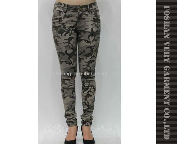 Military style skinny denim jeans women's camouflage print jeans denim jeans