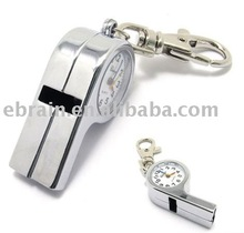 Whistle Pendant Metal Pocket Watch with Keychain