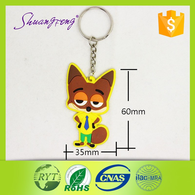 2016 China supplier rubber keychain top quality fashion keychain