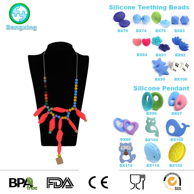 2018 New Fashion Jewelry Baby Teether Silicone Teething Necklace