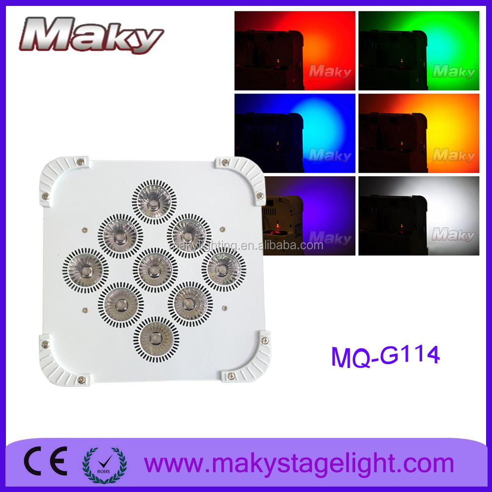 MQ-G114 9*18w wireless flat battery led light RGB/RGBA/RGBW/RGBWA/RGBWA UV led uplight for stage equipment