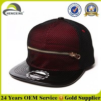 6 panel custom maroon mesh over snapback hat