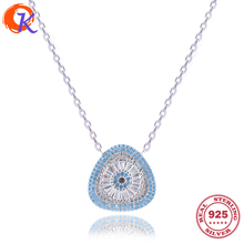 New Design Necklace 100% 925 Sterling CZ Colorful Woman Triangle Style Pendant Necklaces Jewelry For Travelling Gift CDSN-0028
