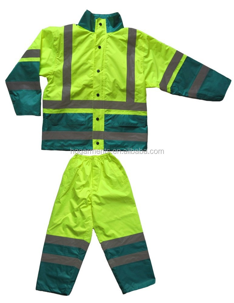Reflective safety rain jacket and trousers