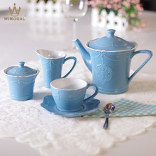 Ceramic matte blue embossment tea set