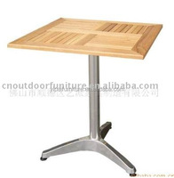 aluminum wooden coffee leisure table cafe square wood ash teak wood tales