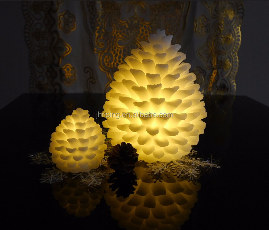 High quality OEM design decorative LED Christmas pine cone candles