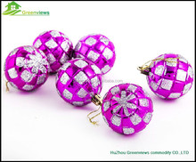 Plastic glass custom silkscreen pattern logo printed christmas ball