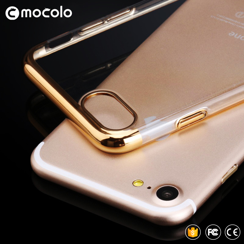 Bumper Frame Crystal Transparent Electroplated TPU Phone Case For iPhone 7