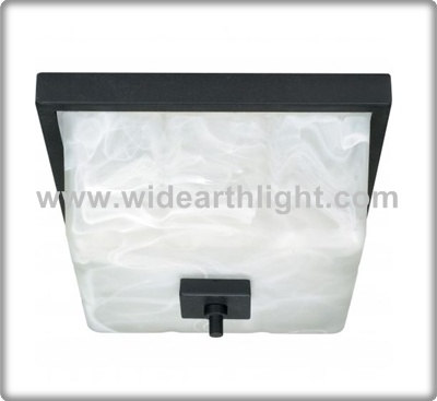 UL CUL Listed Painted Black Hotel Ceiling Light With Square Glass Shade C50407