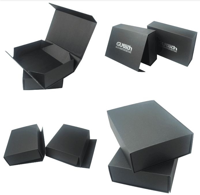 2018 China Luxury Strong Magnetic Matte Black Paper Gift Box Rigid Cardboard Packaging