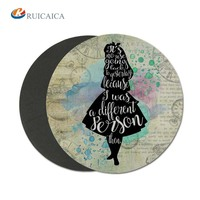 Girl art custom logo printing factory provide and the custom mouse pad fashion style round mouse pad