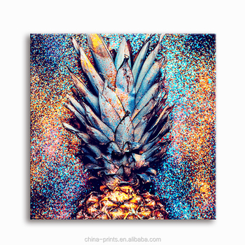 Sparkling Pineapple HD Photo Print on Canvas Canvas Wall Art Fruit Picture Giclee Print Art One Panel Ready to Hang on Wall