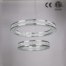 Modern design chrome round circle led crystal pendant lamp with CE ETL certificate