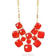Layered Red Glitter Stone Squares Statement Necklace