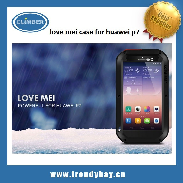 aluminum waterproof love mei case for huawei p7