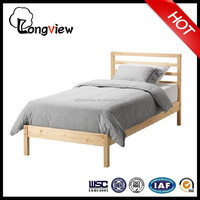 Single design knocked down solid pine wooden bed
