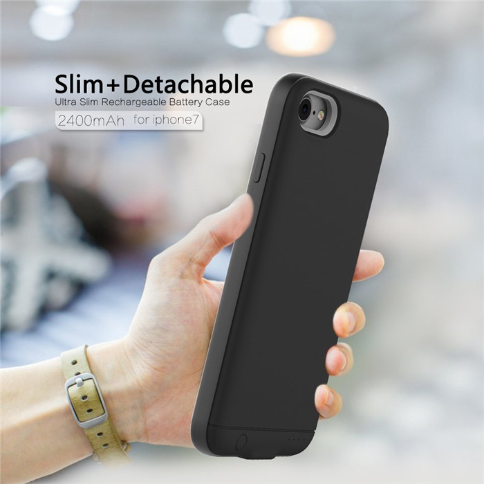 Shenzhen ultra thin portable 2400mAh smartphone battery charger case for iPhone 7
