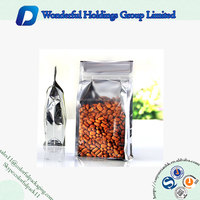 aluminum foil stand up zipper food pouch flat square block bottom bag with clear part