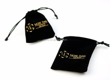 Logo Stamped Velvet Jewelry Pouch Bag Black Velvet bag for jewelry Flannel pouch for jewelry drawstring jewellry bag