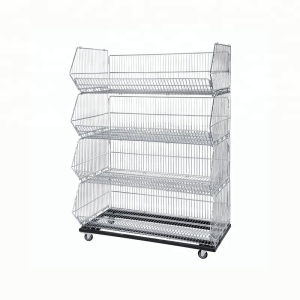 supermarket stacking wire basket, collapsible wire display basket
