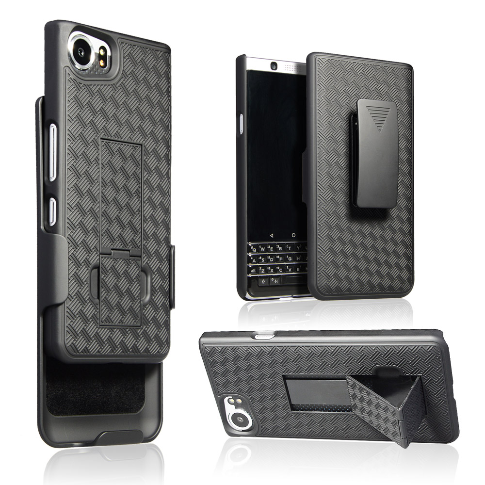 Shell Weave Holster Combo Case for Blackberry Key One With Kick-Stand and Belt Clip