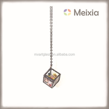 MX131427 wholesale tiffany style stained glass terrarium necklace for decoration