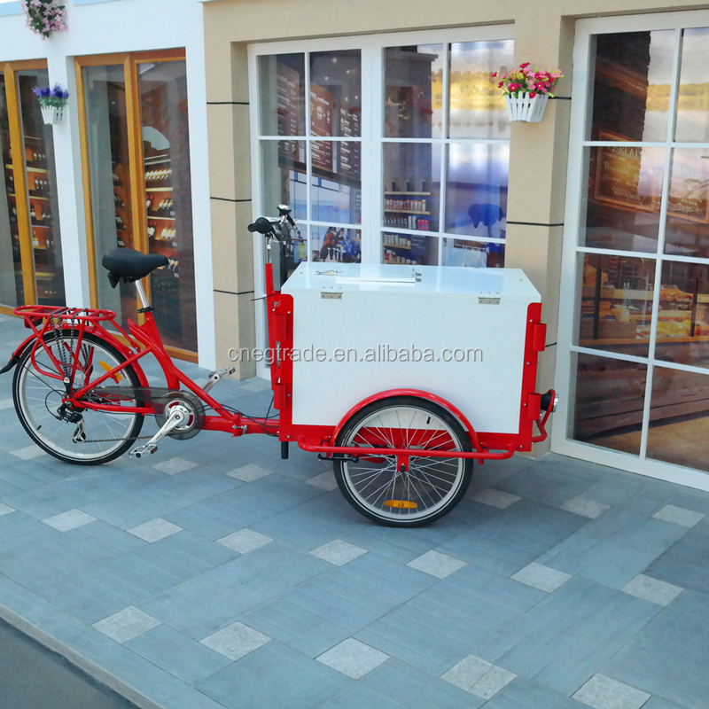 2016 factory directly steel frame 24 inch 3 wheels cargo bike in tricycle for ice cream, pizza, coffe, commercial use