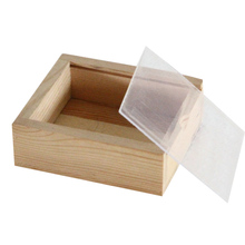 Wooden compartment storage box with glass lid