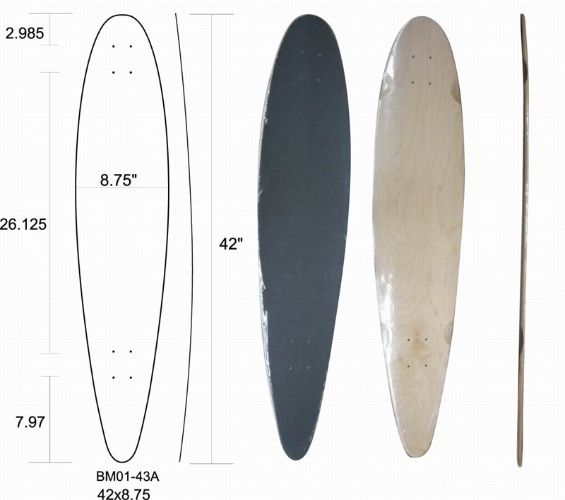 Wholesale Drop Through blank longboard decks