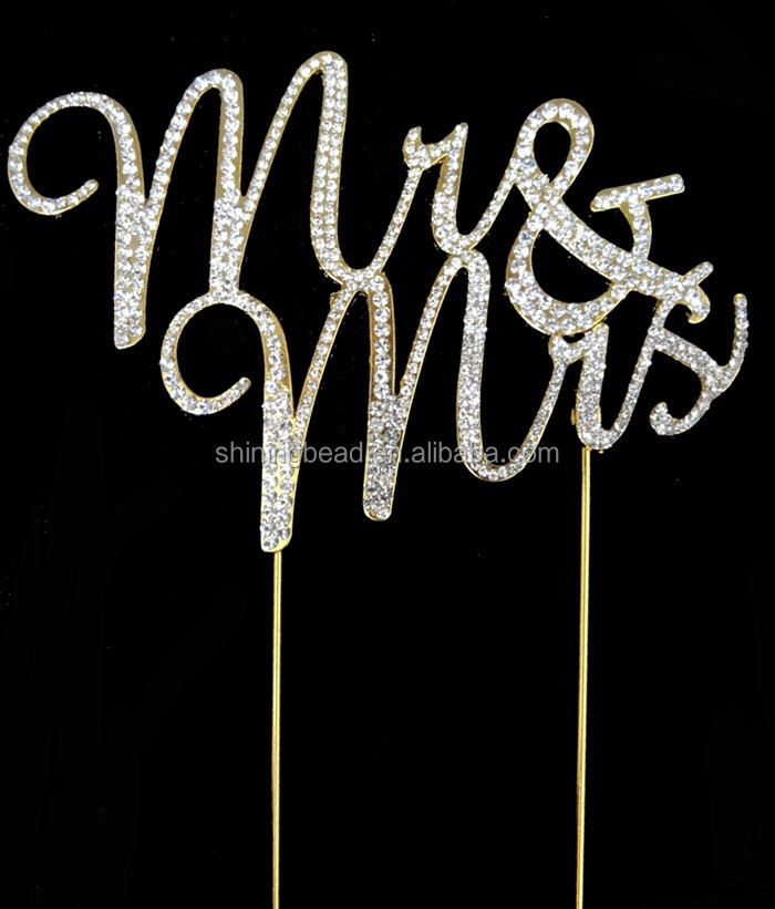 Romantic many styles gold plating Mr and Mrs wedding cake toppers