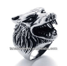 Factory Wholesale Fashion Head Wolf Ring