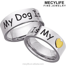 MECYLIFE Gold Heart Charm Animal Secure Jewelry 'My Dog Is My Heart' Stainless Steel Memory Ring