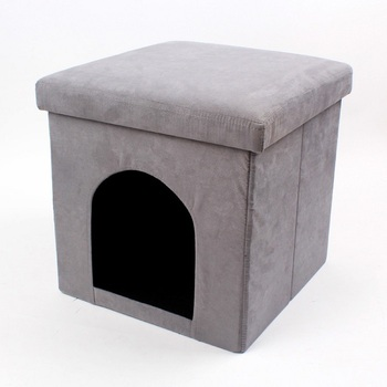 pet house dog foldable leather with lid