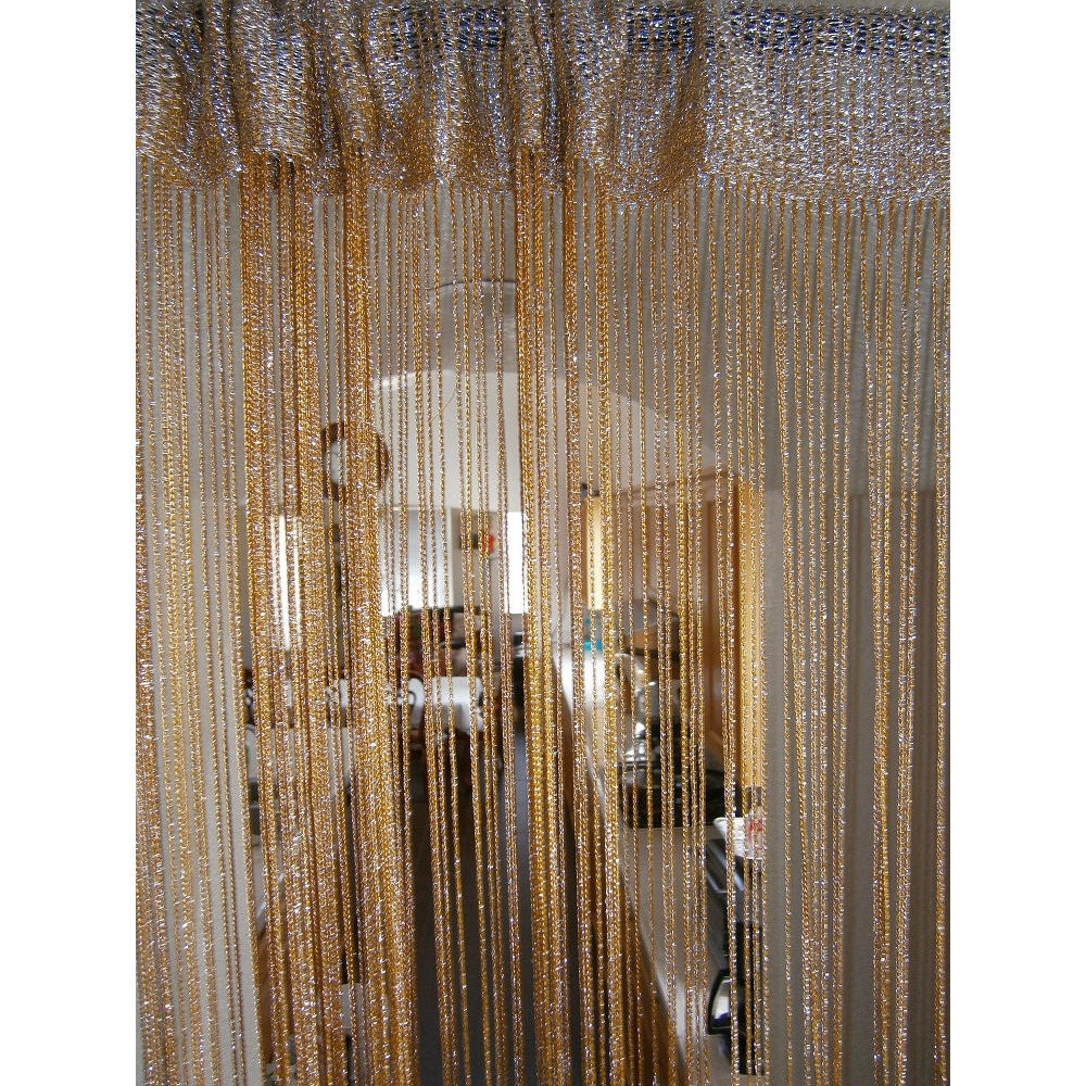 Christmas lurex spaghetti fringed sheer curtain for event decor