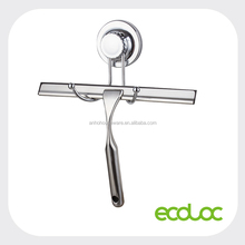 ECOLOC Suction cup stainless steel squeegee for shower, car glass, windows, wiper with suction cup rack hooks