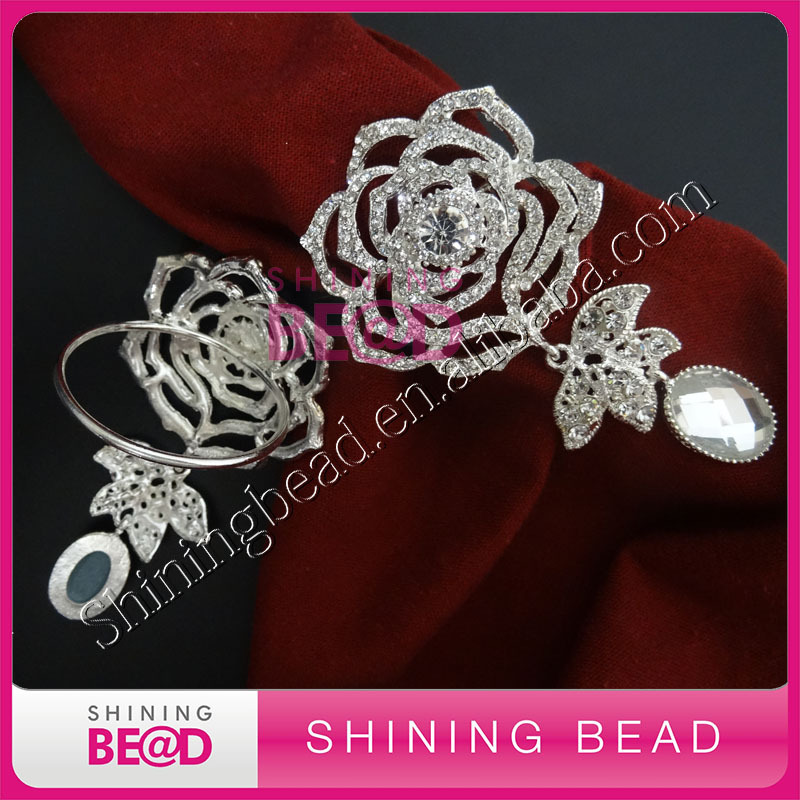 2016 Wedding table decor rose rhinestone napkin rings