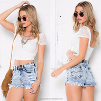 Cheap wholesale cargo women shorts washed fashion shorts high waist denim shorts