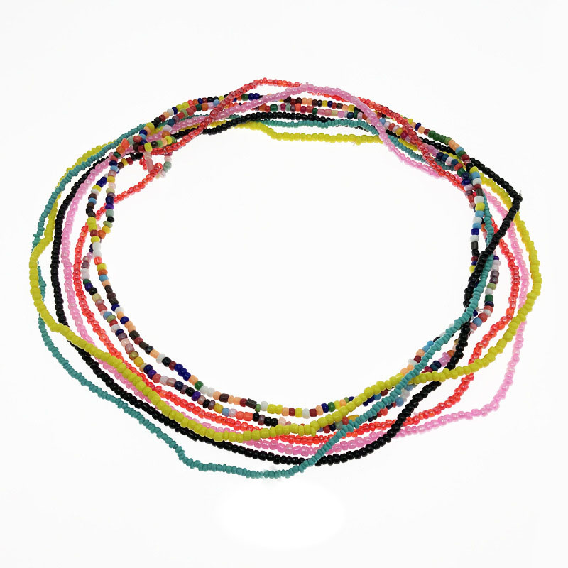wholesale Bohemian multi layer colored rice bead waist beads