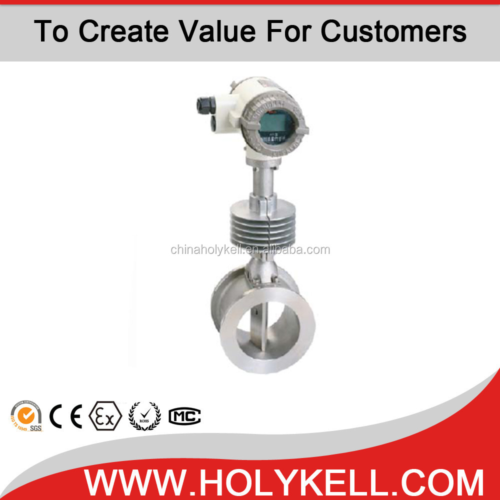 Holykell low price Stainless steel 304 tube pipeline measuring instruments gas steam air vortex flow meter
