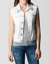 Shelby Sleeveless Cropped Denim Womens Vest