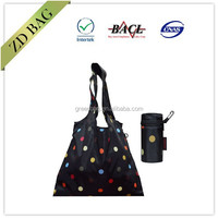 polyester folding shopping bag with round zipper pouch